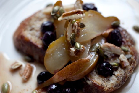baked pears on french toast